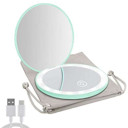 Milishow Compact Mirror with LED Light,1x/10x Magnifying Rechargeable Mirror,Dimmable Travel Mirror for Purse,Handbag,Pocket,Handheld 2-Sided Makeup Mirror (Cyan)