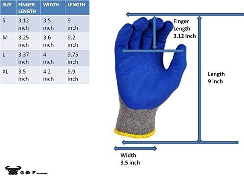 G & F Products - 3100S-10 120 Pairs Small Rubber Latex Double Coated Work Gloves for Construction, gardening gloves, heavy duty Cotton Blend Blue