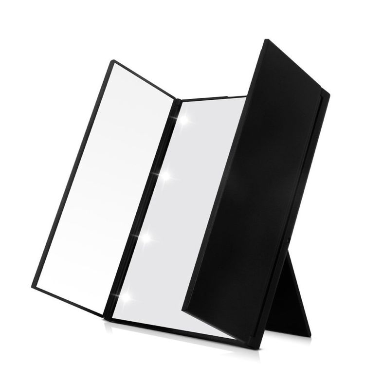 FLYMEI Tri-Fold Makeup Mirror, LED Compact Mirror with Adjustable Stand, Portable Mirror Pocket Vanity Mirrors, Compact Cosmetic Mirror with Lights