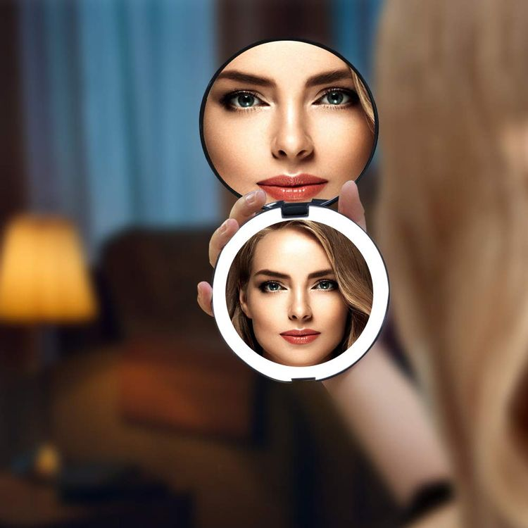 Benbilry LED Lighted Travel Makeup Mirror, 1x/7x Magnification, 5 Inch Dual Sided Vanity Mirror with Lights Portable Compact Illuminated Cosmetic Mirror – Perfect for Handbag (Black)