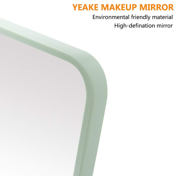YEAKE Table Desk Vanity Makeup Mirror,8-Inch Portable Folding Mirror with Metal Stand 90°Adjustable Rotation Tavel Make Up Mirror Hanging Bathroom for Shower Shaving(Gray)