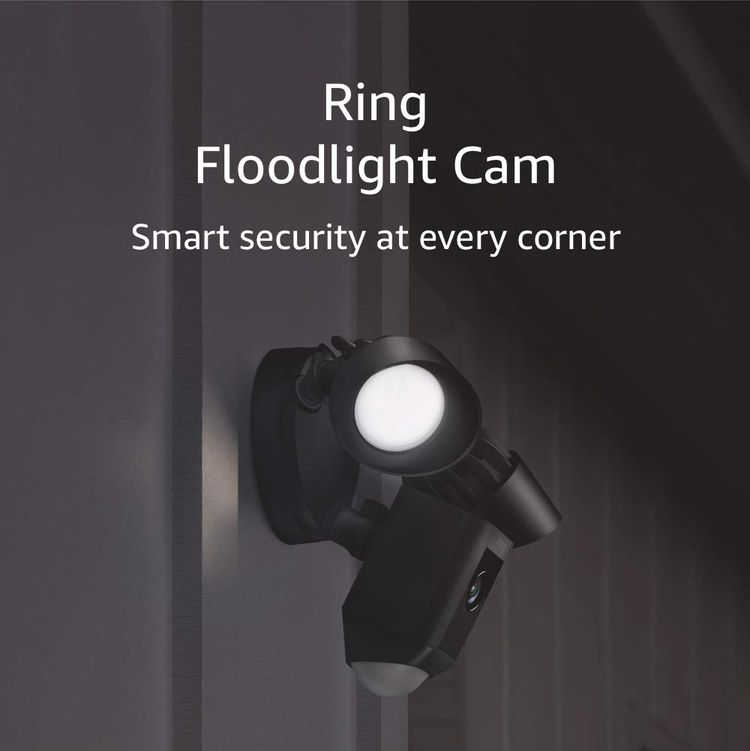 Ring Floodlight Camera Motion-Activated HD Security Cam Two-Way Talk and Siren Alarm, Black, Works with Alexa