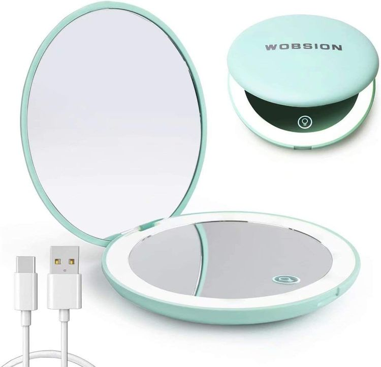 wobsion Led Compact Mirror, Rechargeable 1x/10x Magnification Compact Mirror, Dimmable Small Travel Makeup Mirror,Pocket Mirror for Handbag,Purse,Handheld 2-Sided Mirror,,Gifts for Girls,Cyan