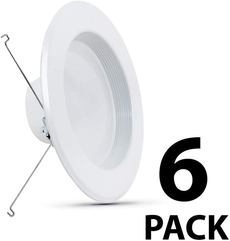 Feit Electric LEDR56B/927CA/MP/6 5/6 inch LED Recessed Downlight, Baffle Trim, Dimmable, 75W Equivalent 10.2W, 925 LM Retrofit kit, 5-6 Inch 75 Watt, 2700K Soft White, 6 Count