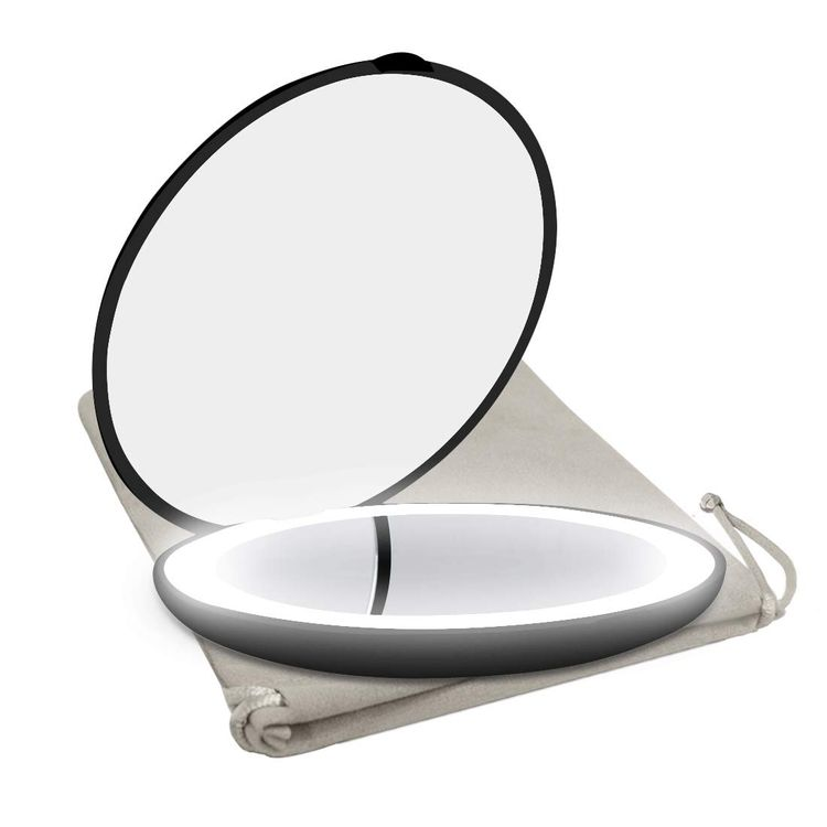 Milishow Travel Mirror with LED Lighted,1x/10x Magnification Compact Mirror with Light, 2-Sided Illuminated Folding Round Mirror, Handheld Pocket Makeup Mirror (Black)