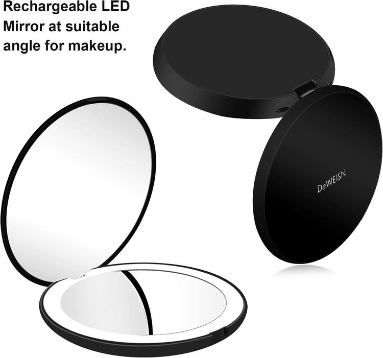 """Compact Rechargeable Lighted Makeup Mirror for Travel, Purse and Handbags,1X and 10X Magnifying Handheld Makeup Mirror with 10 LEDs Lights, Large 5"""" Wide Illuminated Double Side Folding Mirror"""