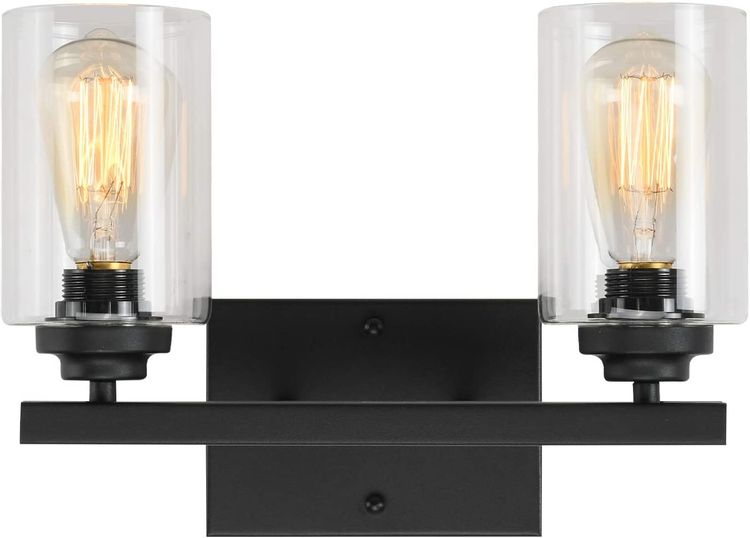 Wall Sconce 2 Lights Vanity Lighting Fixture for Bathroom Industrial Vintage Light with Clear Glasses, Black