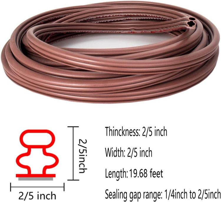 19.68 Feet Rubber Weather Stripping Seal Strip for Doors/Windows, Self-Adhesive Backing Seals Large Gap (from 1/4 inch to 2/5 inch), Soundproofing Seal Strip