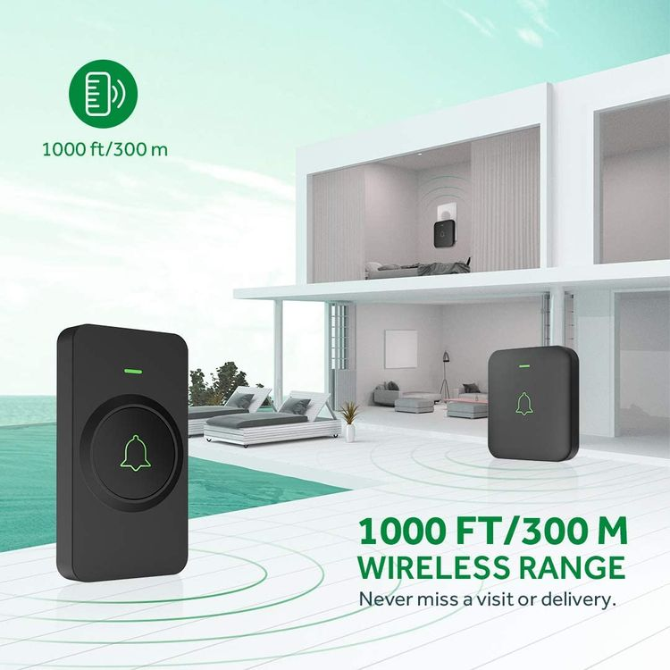 Wireless Doorbell, AVANTEK Mini Waterpoof Door Bell Kit Operating at 1000 Feet with 52 Chimes, 5 Volume Levels and LED Flash, Doorbell Chime with CD Quality Sound, Easy Setup
