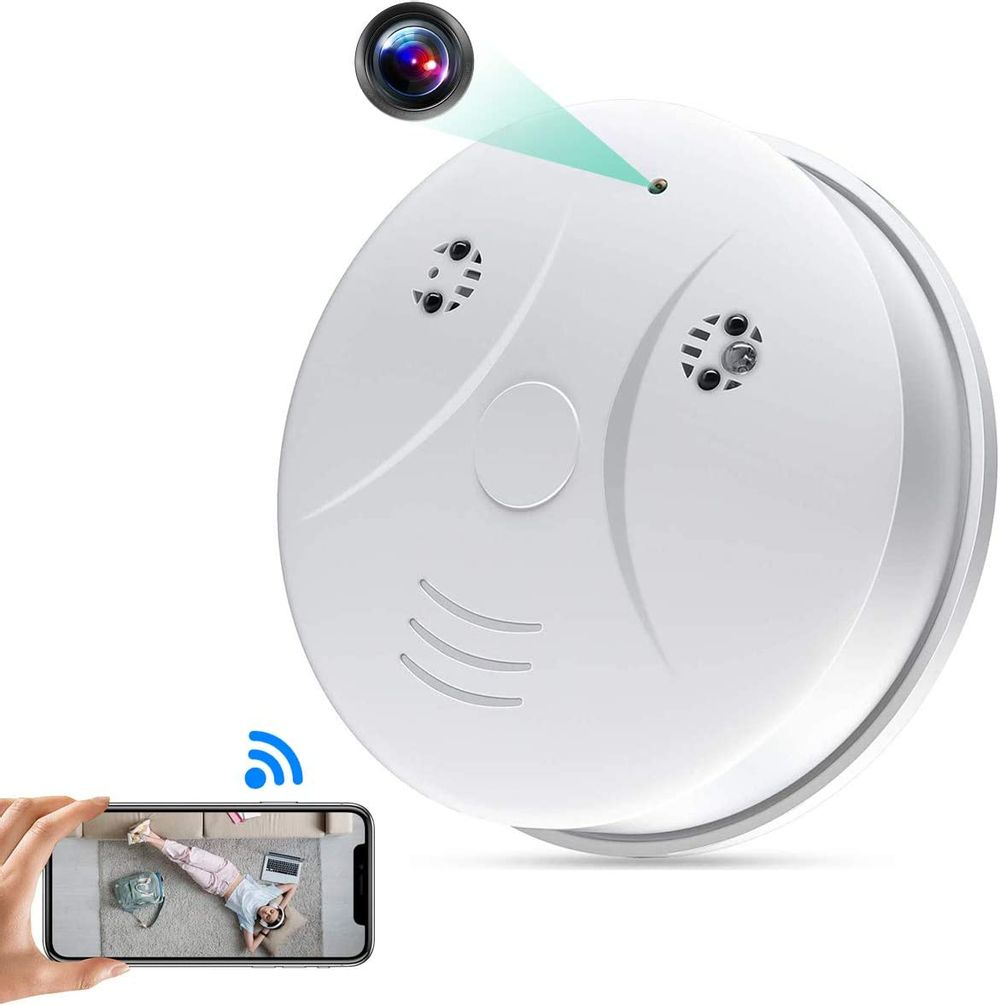 Wireless Camera Smoke Detector HD 1080P Nanny Camera with Motion Detection Alarm, Night Vision, Real-time Video, Baby Pet Monitor for Home and Office.