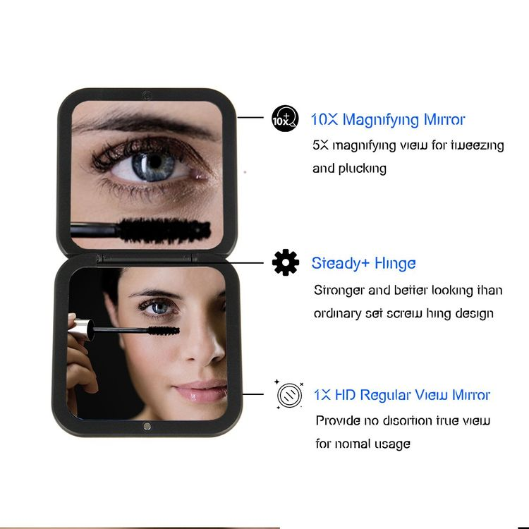 """OMIRO Folding Compact Mirror, 1X/10X Magnification 3½"""" Pocket Size Square Hand Mirror for Travel Makeup (Black)"""
