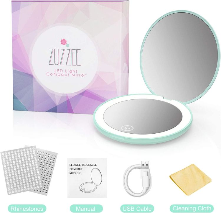 Compact Mirror with Light, ZUZZEE Rechargeable Travel Makeup Mirror, 5X Magnification, Small Hand Mirror for Travel, Distortion Free, Adjustable Brightness, Handheld, Gifts for Women Girls