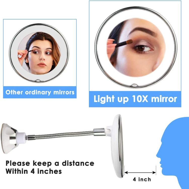 Magnifying Makeup Mirror Flexible Goose Neck LED Lighted with with Strong Suction Cup, Bright Diffused Light and 360 Degree Rotation Portable Cordless for Travel and Home Round Shape Makeup Mirror