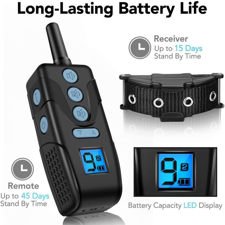 Dog Training Collar - Rechargeable Dog Shock Collar with Remote, 1300ft, 3 Training Modes, 9 Levels Beep & Vibration & Shock, No Harm Waterproof Shock Collar for Dogs, Fit Small Medium Large Dog