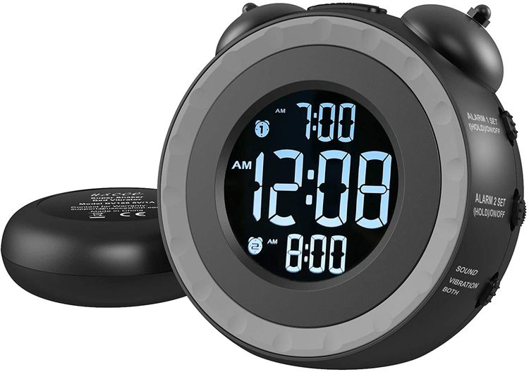 USCCE Loud Dual Alarm Clock with Bed Shaker - 0-100% Dimmer, Vibrating Alarm Clock for Heavy Sleepers or Hearing Impaired, Easy to Set, USB Charging Port, Snooze, Battery Backup