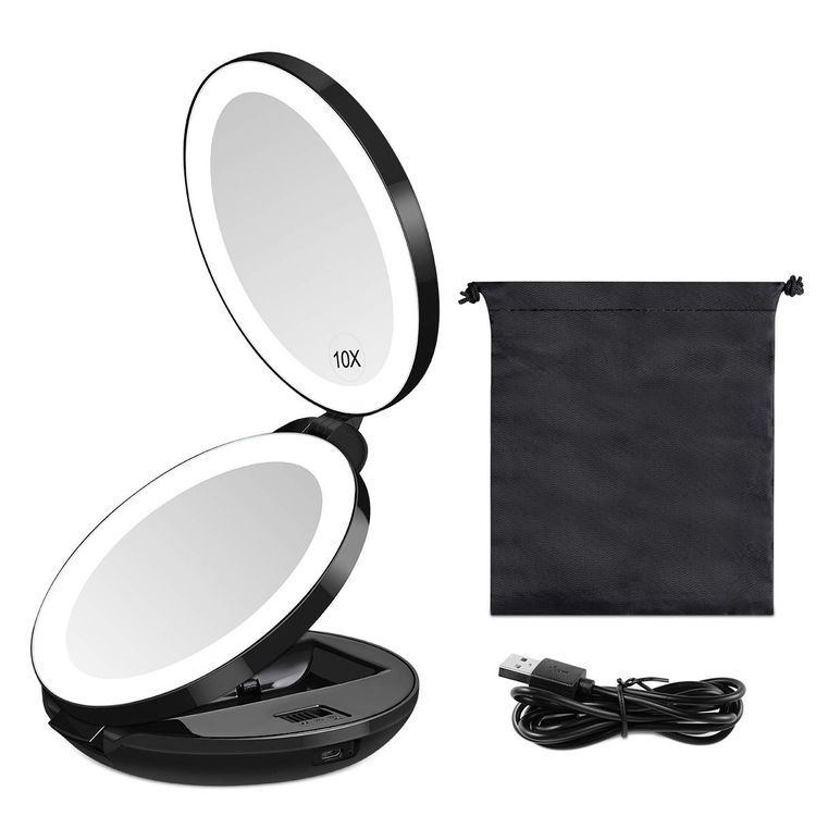 KEDSUM Upgraded Rechargeable LED Lighted Travel Magnifying Mirror, 1X/10X Magnification Compact Makeup Mirror with Lights, Double Sided Folding Vanity Mirror, Daylight, Portable