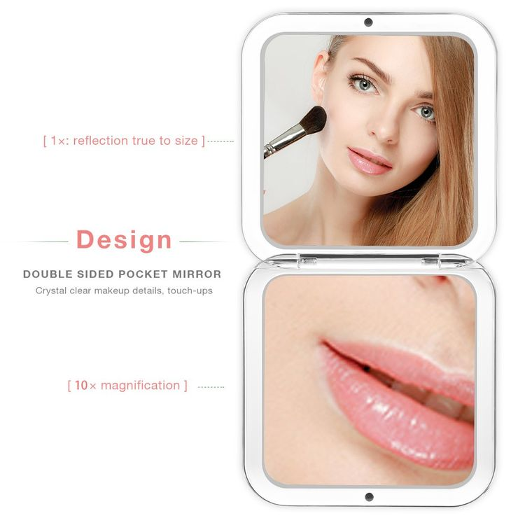 Jerrybox Compact Mirror, Double-Sided Travel Makeup Mirror with Magnification Pocket-size Handheld Mirror for Purses (10X)