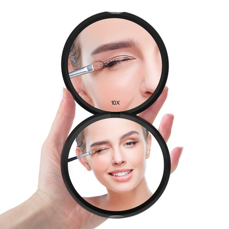 Benbilry Magnifying Compact Mirror for Purses Double Sided Travel Makeup Mirror with 10X Magnification, 4 Inch Small Pocket Mirror, Portable Folding Great Compact Cosmetic Mirror (Black)