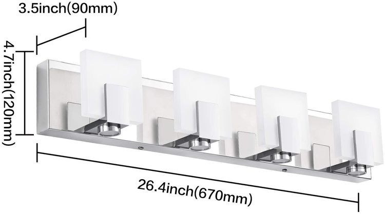 SOLFART LED Modern Dimmable Vanity Lights 4 Lights for Bathroom Wall Light Fixture Stainless Steel Acrylic Over Mirror 7249