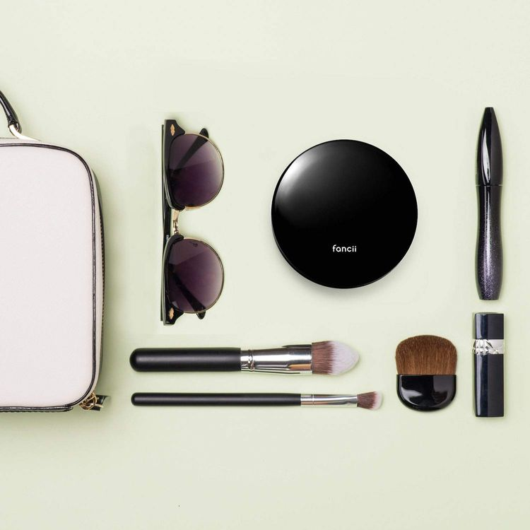 Fancii Small Compact Magnifying Mirror with Natural LED Lights, 1x & 10x - Daylight LED, Portable Mini Pocket Lighted Mirror for Purses and Travel, Midnight Black (Lumi Mini)