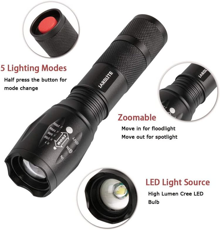 LED Emergency Handheld Flashlight, 4 Pack, Adjustable Focus, Water Resistant with 5 Modes, Best Tactical Torch for Hurricane, Dog Walking, Camping