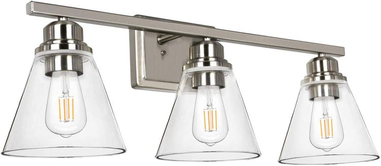 3-Light Bathroom Light, Brushed Nickel Vanity Light Fixtures, Bathroom Wall Sconce Lighting with Clear Glass Shades, ETL Listed (Bulb not Included)