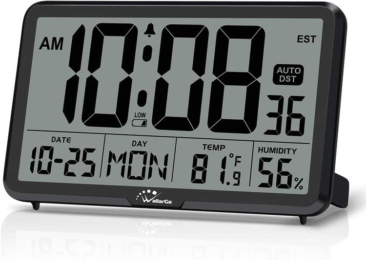 WallarGe Digital Wall Clock, Autoset Desk Clocks with Temperature, Humidity and Date, Battery Operated Digital Clock Large Display, 8 Time Zone, Auto DST.
