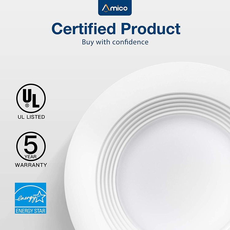 Amico 4 inch 3CCT LED Recessed Lighting 12 Pack, Dimmable, Damp Rated, 9W=60W, 650LM Can Lights with Baffle Trim, 3000K-5000K Selectable, Simple Retrofit Installation, UL & Energy Star