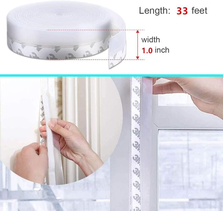 AlvaroTool Silicone Door Weather Stripping - 33Ft Seal Strip, Silicone Sealing Sticker Adhesive, Suitable for Windows, Doors, etc. (1.0Inch Width, Transparent)