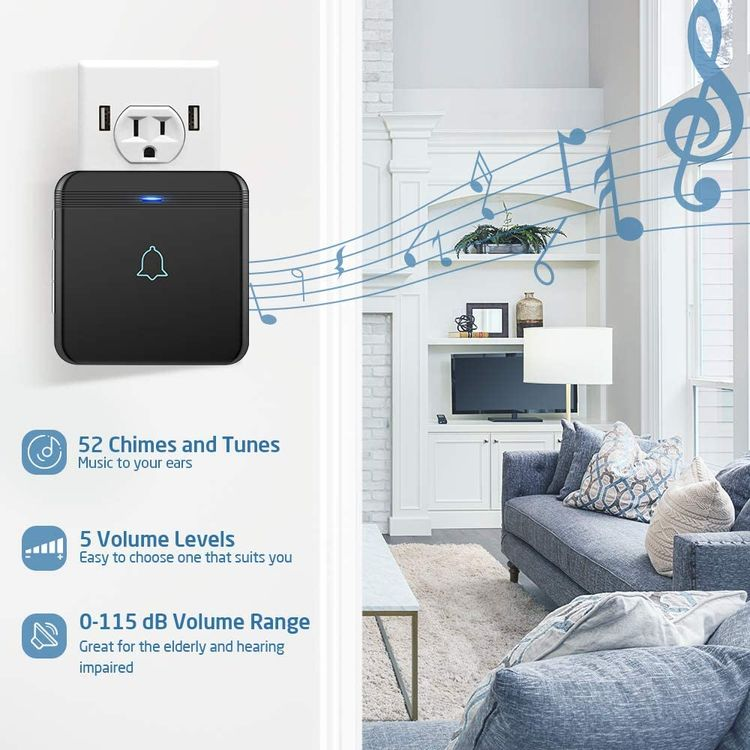 Wireless Doorbell, AVANTEK D-3G Waterproof Door Chime Kit Operating at Over 1300 Feet with 52 Melodies, 5 Volume Levels & LED Flash