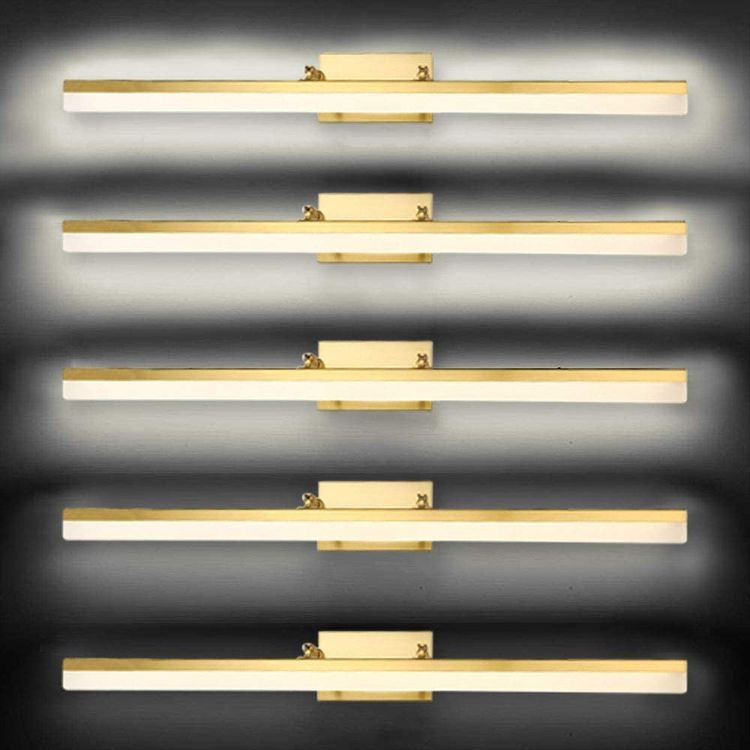 BDL Adjustable Dimming LED Bathroom Vanity Light Fixture Cabinet Wall Brushed Brass White Light 4000K Acrylic for Makeup Bathroom Lighting (Dimmable 24in 18W)