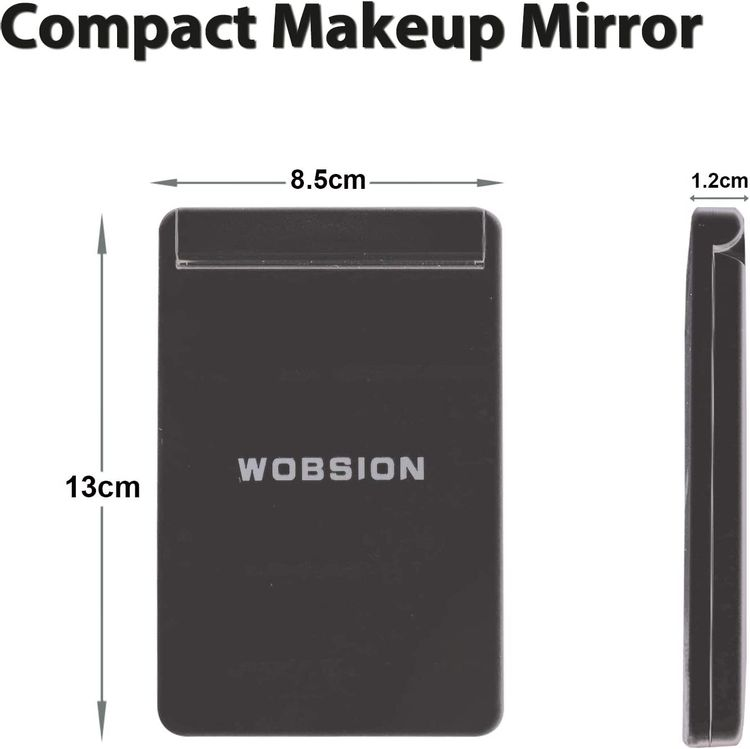 wobsion Travel Makeup Mirror, Rechargeable Lighted Compact Mirror,1x/3x Magnifying Mirror,300°Flip Folding Portable Mirror, 2-Sided Magnetic Switch Handheld Mirror,Dimmable,Gifts for Girls,Black