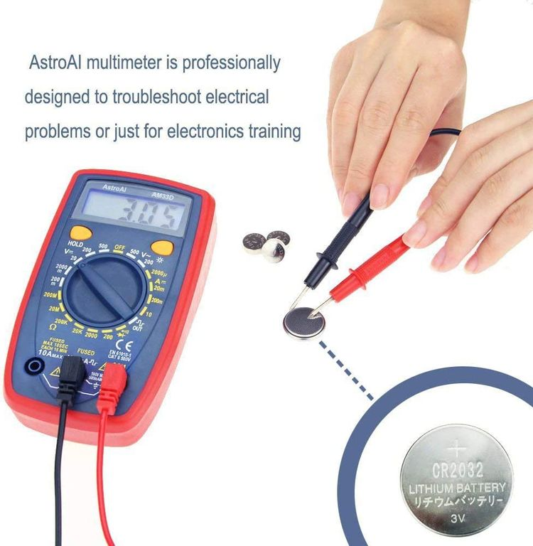 AstroAI Digital Multimeter with Ohm Volt Amp and Diode Voltage Tester Meter Continuity Test (Dual Fused for Anti-Burn)