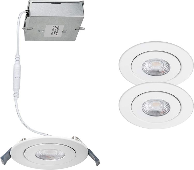 WAC Lighting R4ERAR-W930-WT-2 Lotos 4in Round Recessed Kit 3000K in White (Pack of 2) LED Light Fixture, 2 Pack, Adjustable Gimble, 2 Count