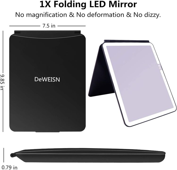 DeWEISN Folding Travel Mirror Lighted Makeup Mirror with 72 LEDs 3 Colors Light Modes USB Rechargable 1800mA Batteries Portable Ultra Thin Compact Vanity Mirror with Touch Screen Dimming for Cosmetic