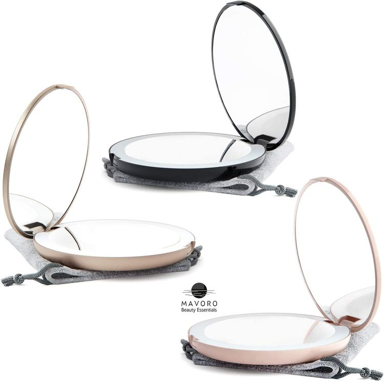 Mavoro LED Lighted Travel Makeup Mirror, 1x/10x Magnification - Daylight LED, Pocket or Purse Mirror, Small Travel Mirror. Folding Portable Mirror, Large - 5 inch (Black)