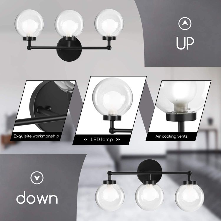 3-Light Bathroom Vanity Light, OOWOLF 11W 5000K Indoor Wall Vanity Light Fixtures, LED Make-up Mirror Front Light, Two-Layer Glass lampshades, Matte Black.