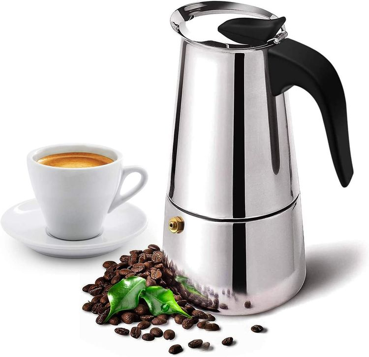 Stovetop Espresso Maker with Classic and Rich Brews Moka Pot, Cuban Coffee Maker Stove top Espresso Shot Maker for Espresso coffee Percolator Machine (4 Cups)