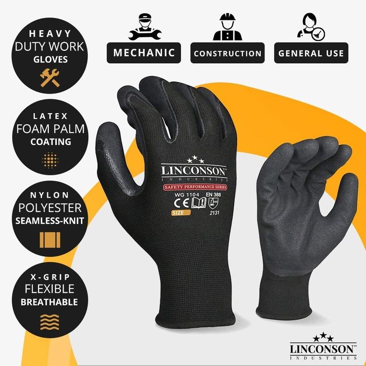 LINCONSON 12 pack Safety Performance Series Construction Mechanics Work Gloves