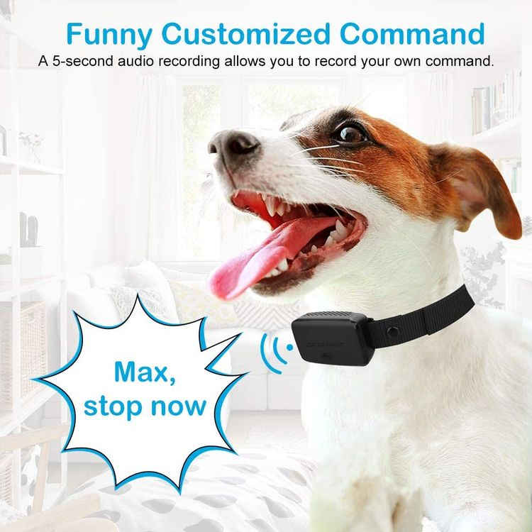 Dr.Trainer B1Pro Bark Collar for Dogs, Anti Barking Device with Phone & Watch APP Control (No Shock), Customize Sound, Adjustable Sensitivity, Barking Records, Progressive Mode, Fit for 6-150lbs Dogs