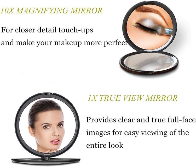 Magnifying Compact Cosmetic Mirror-DeWEISN Elegant Compact Pocket Makeup Mirror, Handheld Travel Makeup Mirror with Powerful 10x Magnification and 1x True View Mirror for Travel or Your Purse