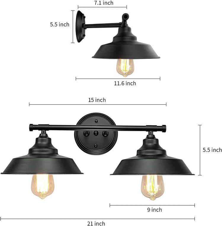 GOODYI 2-Lights Vanity Wall Sconce Lighting, Rustic Style Matte Black Bathroom Light Fixtures Over Mirror Industrial Wall Light Sconces for Bathroom Vanity Lights for Cabinets Dressing Table