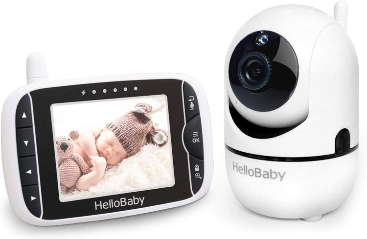 Baby Monitor with Remote Pan-Tilt-Zoom Camera and 3.2'' LCD Screen, Infrared Night Vision (Black)