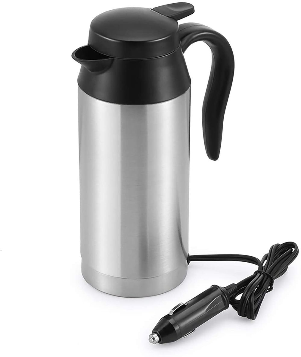 Car Kettle Boiler Sunsbell 750ml Car Heating Travel Cup Stainless Steel Mug Car Coffee Cup Warmer with DC 12V Charger for Car (Kettle Boiler)