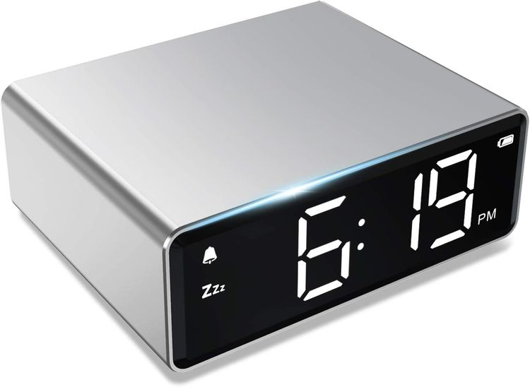 NOKLEAD Digital Alarm Clock - 4 Brightness LED Display with Alarm Snooze 12/24H, Adapter Powered with Backup Batteries, Simple Operations, Small Metal Clock for Bedroom Travel Office (Silver)