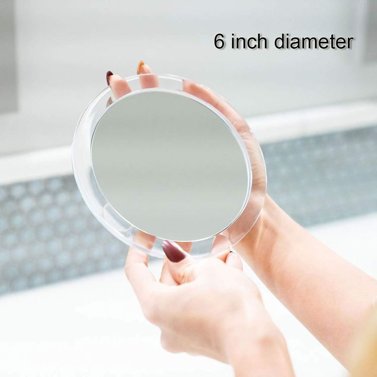 Mavoro Magnifying Mirror with Suction Cups - Triple Suction Cup Stick on Mirror with 10X Magnification. Portable Travel Makeup Mirror, Magnified Cosmetic Mirror with Cloth. Mirrors for Dorm Decor