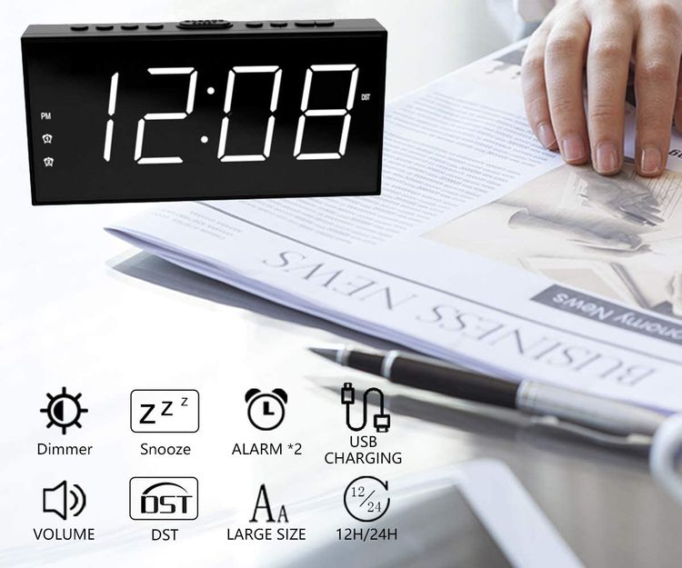 Loud LED Digital Alarm Clocks for Bedrooms Bedside with Snooze Digital Clock for Heavy Sleepers Dual Clock with USB Charger, Large White Digit Display, Big Easy Full Range Brightness Dimmer