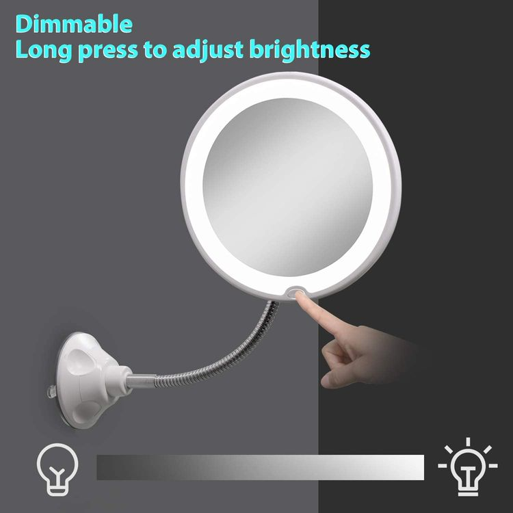 wobsion Magnifying Makeup Mirror 5X, Flexible Gooseneck Lighted Mirror, Makeup Mirror Suction Cup Mount,Dimmable Portable Travel Mirror,Daylight Bathroom Vanity Mirror,360°Swivel,Battery&USB Powered
