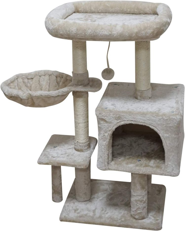 FISH&NAP Cat Tree Cat Tower Cat Condo Sisal Scratching Posts with Jump Platform Cat Furniture Activity Center Play House Grey