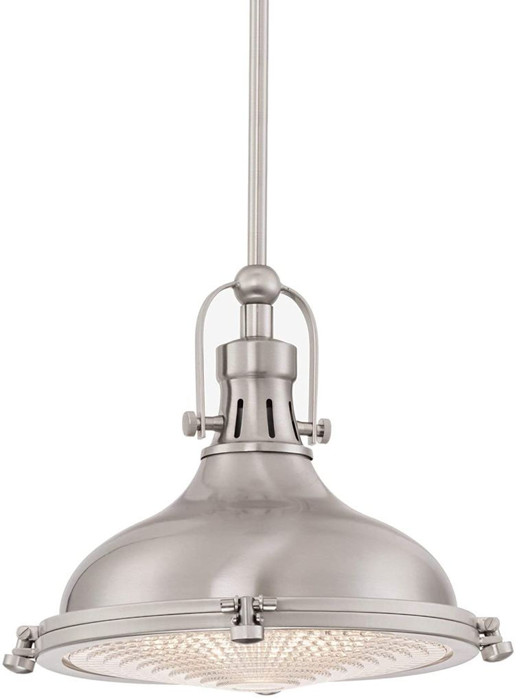 """Kira Home Beacon 11"""" Industrial Farmhouse Pendant Light with Round Fresnel Glass Lens, Adjustable Hanging Height, Brushed Nickel Finish"""
